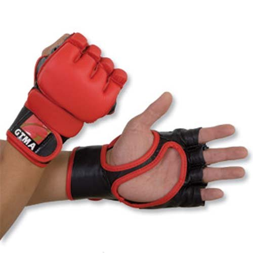 GTMA Leather MMA Mixed Martial Arts Grappling Gloves with 2 Tone - Red with Black - Leather Gtma