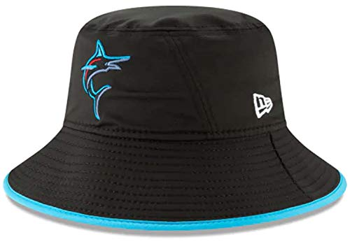 New Era Authentic MLB 2019 Clubhouse Collection Bucket Hat Stretch Fit : One Size Fit Most (Miami Marlins) ()