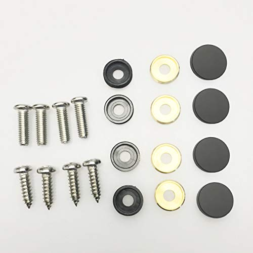 Set of 4 Anti Rust Resistant Stainless Steel Screw+Black Aluminum Screw Caps not plastic cap for License Plate frame