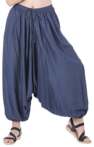 CandyHusky Men Women Baggy Hippie Boho Gypsy Yoga Harem Pants Aladdin Costumes (Dark Blue) -