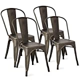Set of 4 Tolix Style Dining Side Chair Stackable Bistro Cafe Chic Metal Copper