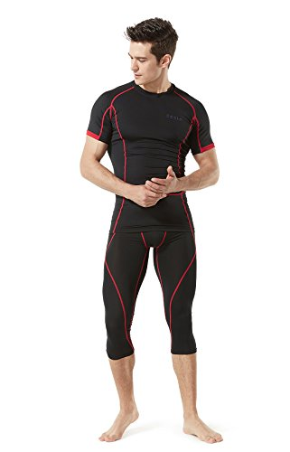 TM-MUC18-KKR_Large TSLA Men's Compression Capri Shorts Baselayer Cool Dry Sports Tights MUC18 by TSLA (Image #7)