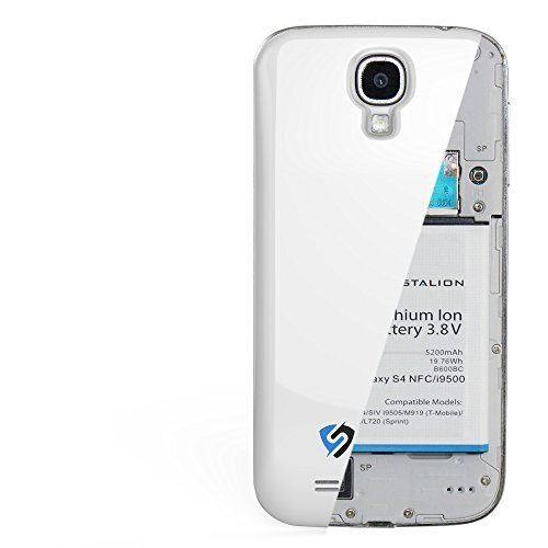Extended Battery Door Cover - Stalion Strength 5200mAh Extended Battery & Back Door Cover for Samsung Galaxy S4 (White Frost)