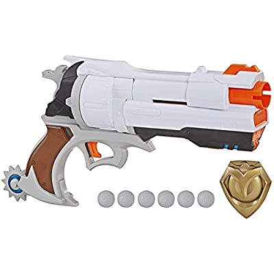 NERF Overwatch McCree Rival Blaster with Die Cast Badge & 6 Overwatch Rival Rounds: Toys & Games