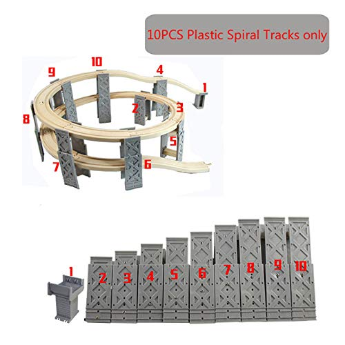 BeesClover Diecast 1:24 Thomas and Friends Plastic Spiral Tracks Train Track Railway Accessories Track Bridge Piers with Wooden Tracks Without Tracks