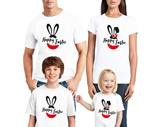 (Natural Underwear Family Trip #9 Family Trip Happy Easter Eggs Rabbit and Mouse Group Squad World Shirt Crew Neck T Shirts White Youth Girls X-Small)