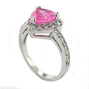 Classic Brilliant Cut Pink Heart Engagement Ring w/White pav?CZs size 5