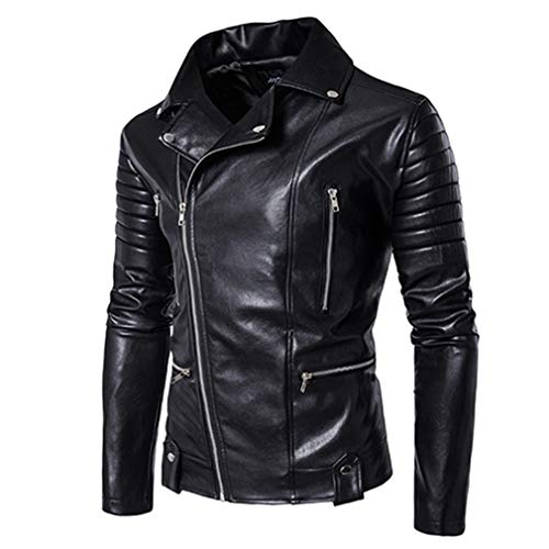 - Oudahood Business Casual Leather Clothes Leather Jacket Black XXXL