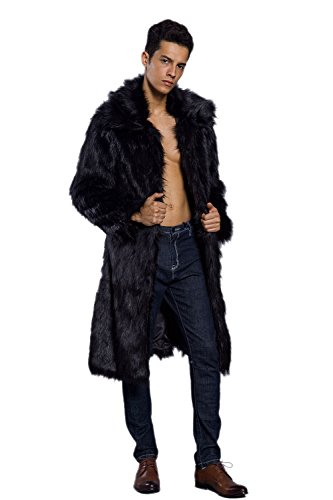 Amore Bridal Mens Faux Fur Coat Long Black Jacket Warm Furry Overcoat Outwear Black L (Long Black Vest Men)