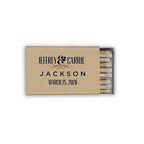 Gold Foil Matches, Wedding Favor, Custom Matchboxes, Let's Get Lit, Cigar Bar, Monogram Match (Wedding Matchbox)