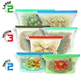 Reusable Silicone Food Bag | Silicone Bags Reusable, Silicone Food Storage Bag, Reusable Silicone Food Storage Bags, Silicone Ziploc Bags, Eco-Friendly Dishwasher Steamer & Freezer Safe 7 Bags 3 Sizes