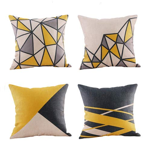 Pack of 2 Soft Canvas Throw Pillow Covers Cases for Couch Sofa Home Decor Dahlia Floral Outline Both Sides Print 18 X 18 Inches Maize Yellow (Outline Feathers)