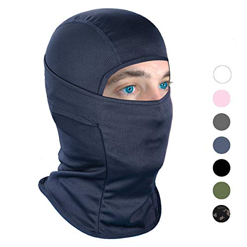 Achiou Balaclava Face Mask UV Protection for Men Women Ski Sun Hood Tactical Masks for Skiing, Cycling, Motorcycle, Fishing, Running, Outdoor Tactical Training (Navy, Adult) (Diamond Tactical Full Face Protection Ghost Balaclava Mask)