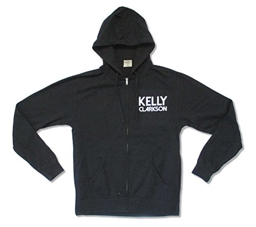 - Kelly Clarkson Piece by Piece Pocket Logo Mens Black Zip Hoodie Sweatshirt (Medium)