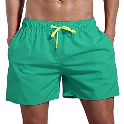 khdug Men's Swimming Sport Beach Quick-Drying Solid Color Short Trouser Shorts Pants Mint Green