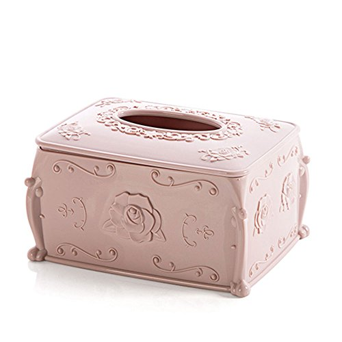 A-parts Facial Tissue Box Cover, Rectangular Refill Holder, Decorative Napkin Box Cover Great for Home Office, Pink (Tissue Pink Box)