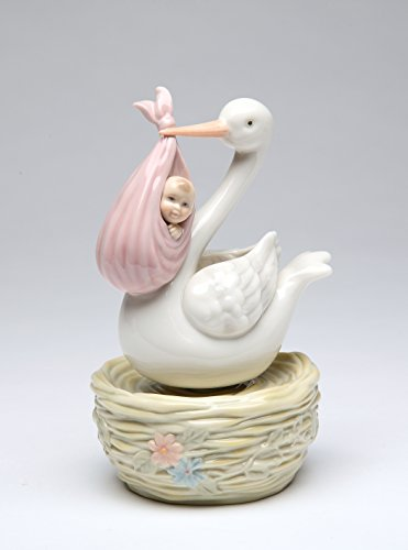 - Cosmos Gifts 80093 Porcelain White Stork Pelican Bird Delivers Baby Girl Wind Up Music Box Musical Figurine (Music Tune: Lullaby by Brahms), 6-1/8