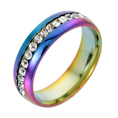 Fxbar Couple Simple Stainless Steel Rings High Polishing Tarnish Resistant Full Zircon Rings Anniversary Birthday Jewelry - Light Nine Crystal Tiara