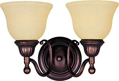 Maxim 11057SVOI Soho 2-Light Bath Vanity Wall Sconce, Oil Rubbed Bronze Finish, Soft Vanilla Glass, MB Incandescent Incandescent Bulb , 60W Max., Damp Safety Rating, Standard Dimmable, Hemp String Shade (Soho Lighting)