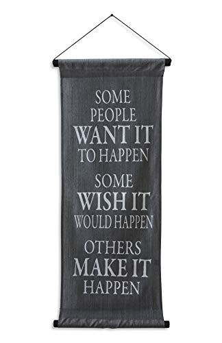 G6 Collection Inspirational Wall Decor Banner, Inspiring Quote Scroll, Affirmation Motivational Uplifting Message Decoration, Thought Saying Tapestry Want It, Wish It, Make It (Gray)