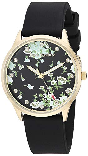 - Juicy Couture Black Label Women's  Swarovski Crystal Accented Gold-Tone and Black Silicone Strap Watch