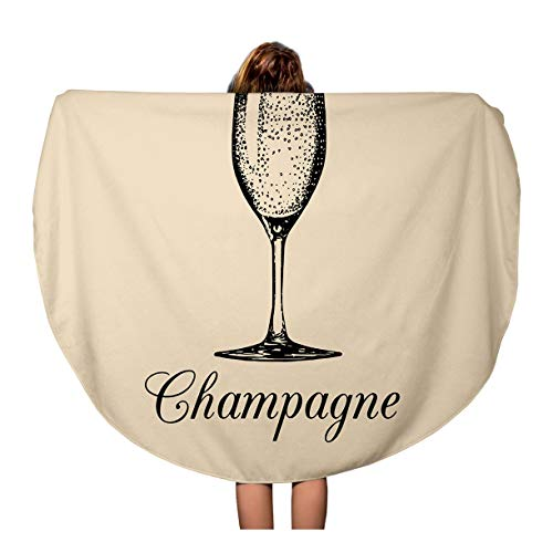 (Pinbeam Beach Towel Champagne Glass Sketch of Spumante Alcoholic Drink White Travel 60 inches Round Tapestry Beach Blanket)