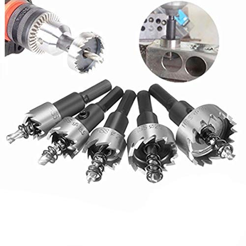 Mohoo 5PCS 16-30MM HSS Drill Bit Hole Saws Set Stainless High Speed Steel Metal Alloy by MOHOO