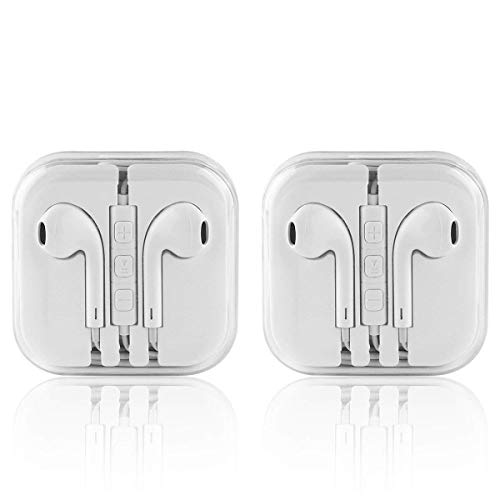 Apple Earbuds, Earphones Wired with Mic and Remote Control Fits Apple iPhone 6S Plus 6 SE 5S Samsung Galaxy S7 S6 Note 3 2 1/MP5 Player iOS Android,2 Pack by Generic