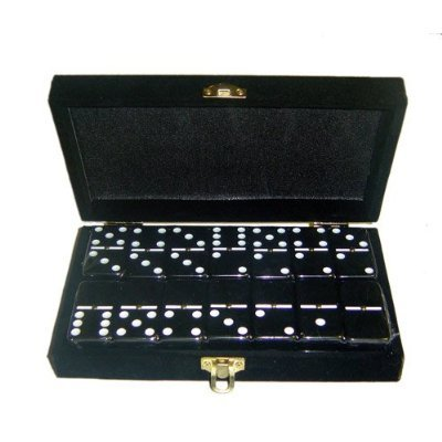 Marion Domino Double 6 Black Jumbo Tournament Professional Size w/Spinners in Elegant Black Velvet Box. by Marion
