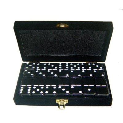 Domino Double 6 Black Jumbo Tournament Professional Size w/Spinners in Elegant Black Velvet Box.