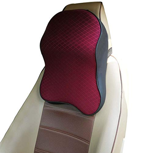 ZATOOTO Car Headrest Pillow - Memory Foam Neck Support Pillow for Driving Breathable Wine Red