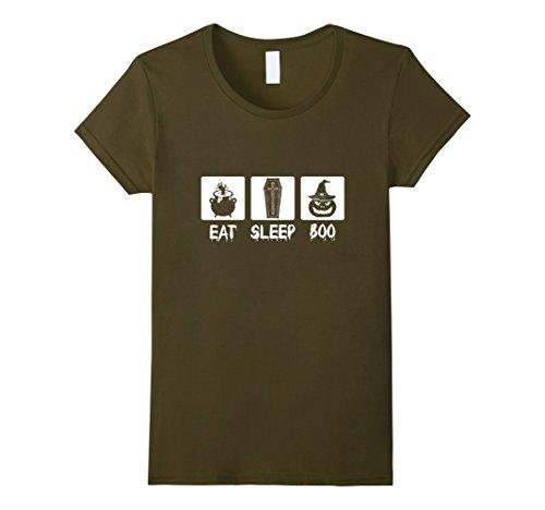 Womens Halloween Eat Sleep Boo Costume Funny Pumpkin Shirt XL Olive