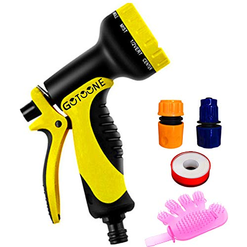 GOTOONE Water Hose Nozzle Sprayer Heavy Duty High Pressure 10 Patterns with Locking Rear Trigger Flow Control Knob Cleaning Dog Cat Pets Garden Watering Plants Car Wash