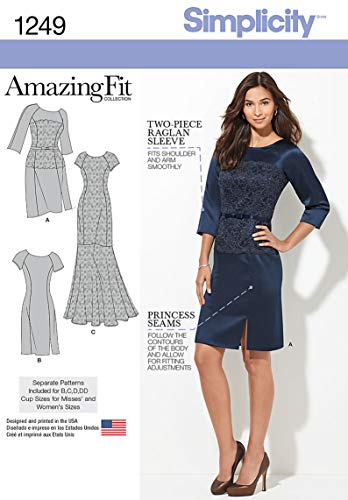 Simplicity Amazing Fit Pattern 1249 Misses Dress in 2 Lengths with Individual Pattern Pieces Sizes 10-12-14-16-18