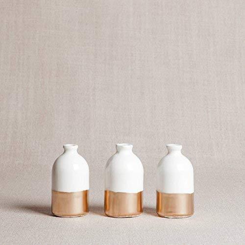 White and Gold Porcelain Bud Vases Set of Three
