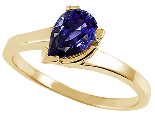 Tommaso Design Pear Shape 7x5mm Genuine Iolite Ring 14 kt Yellow Gold Size 8 ()