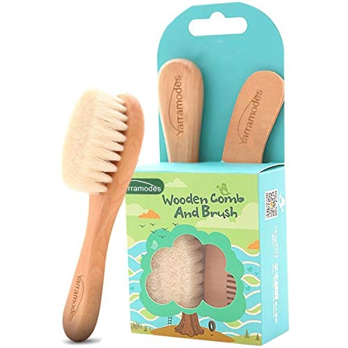 (Baby Goat Hair Brush and Comb Set for Newborns & Toddlers Eco-Friendly Safe Brush for Cradle Cap Natural Wooden Comb Perfect Baby Shower and Registry Gift (Baby Hair Brush and Comb Set))
