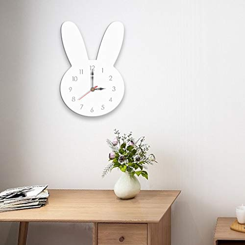 (Wall Clocks Battery Operated(AA Battery Not Included),Nordic Style Elk/Rabbit Wall Clock Silent Wooden Clock for Home Living Room (White1))