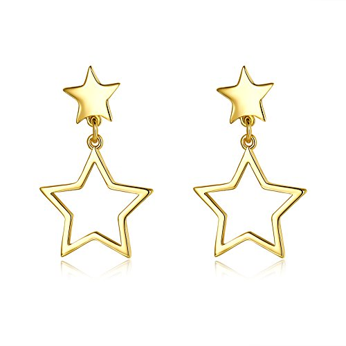 (14K Gold Plated Star Dangle Christmas Earrings Drop Style Nice Gift For Girls Womens (star))