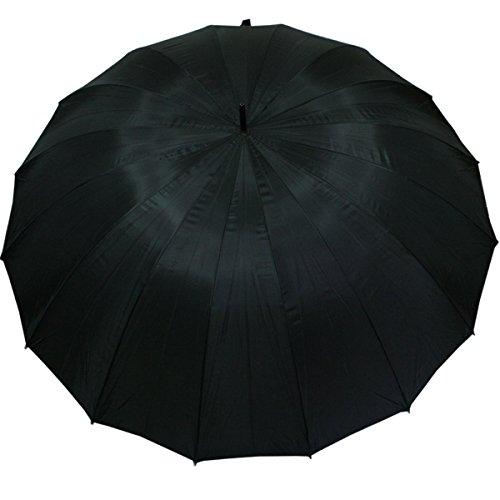 Golf Regenschirm Partnerschirm XXL- 16 teilig schwarz