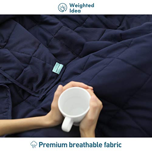 """Weighted Idea Weighted Blanket 15 lbs 48""""x78"""" (Soft Fabric, Navy Blue)"""