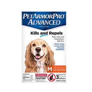 Pet Armor Pro Advanced Flea, Tick, Lice & Mite Treatment Drops for Medium Sized Dogs (23 - 44.9 Lbs)