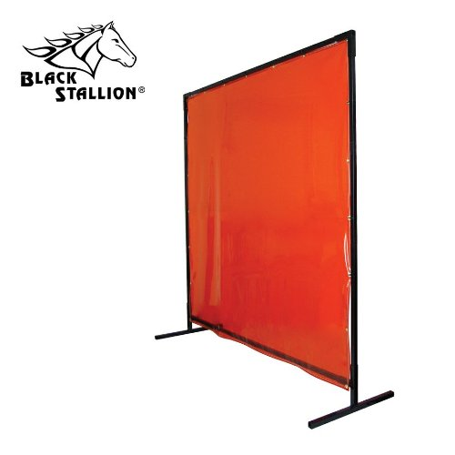 Revco 6X8VF1-ORA 6'X8' 14 mil. 1 Panel Orange Saf-Vu Welding Screen with Frame