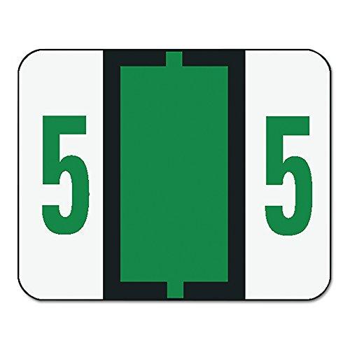 Smead 67375 Single Digit End Tab Labels, Number 5, Dark Green, 500 per Roll