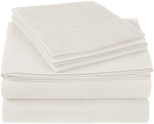 Pinzon 300 Thread Count Ultra Soft Cotton Bed Sheet Set, King, Ivory - Ivory Flannel Fitted Sheet