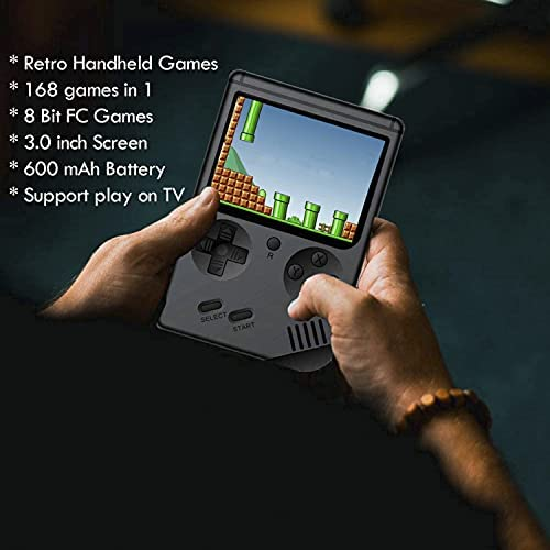 BYLGKE Handheld Games Electronic Games Console for Kids/Adults - 8 Bit 168 Classic Games 3 Inch Screen Retro Games Console with Controller for 2 Player on TV (Black) Best Deal Site | Setia menemani anda
