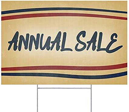 18x12 Nostalgia Stripes Double-Sided Weather-Resistant Yard Sign Annual Sale 5-Pack CGSignLab