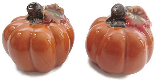Pumpkin Salt and Pepper Shakers Set of 2, 2.25 W x 2.50 H Ceramic