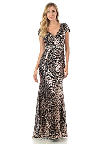 Terani Prom Pageant Dress - TwinMod Sheer Floral Sequined Cap Sleeve Crystal Evening Dress (2XLARGE, BRONZE/BLACK)
