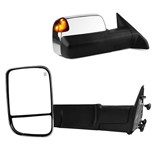 Maxiii Side Trailer Mirror Compatible for Dodge RAM Tow Mirror 2009-2012 Dodge RAM 1500 Side Mirrors, 2010-2012 RAM 2500 3500 Truck Mirror, Power Heated Manual Mirror
